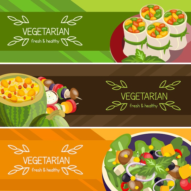 Vegetarisch voedsel horizontale banners instellen Gratis Vector