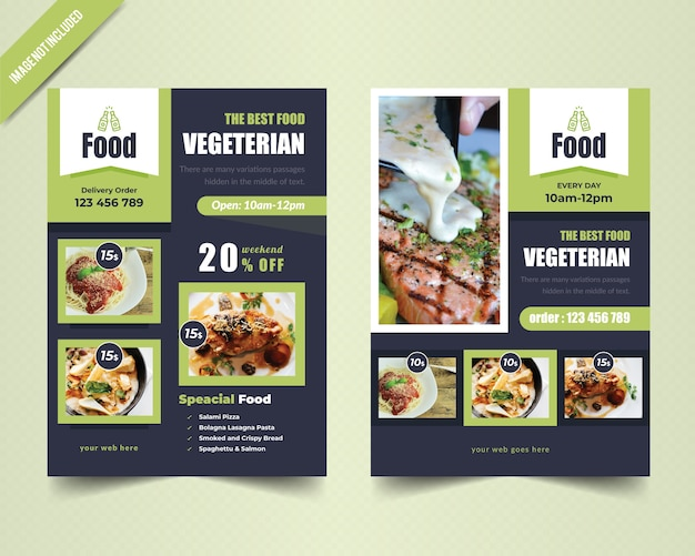Vegetarische flyer-sjabloon Premium Vector