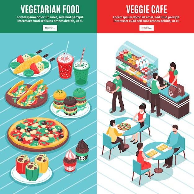 Vegetarische isometrische verticale banners Gratis Vector