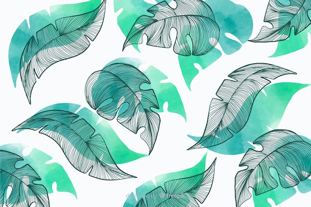 Vegetatieachtergrond met hand getrokken bladeren Gratis Vector