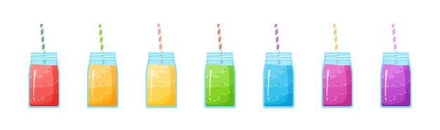 Vegeterian smoothie shake cocktail collectie illustratie. set glazen pot met lagen zoete vitaminesapcocktail of eiwitshake voor smoothies fitnessbar-ontwerp Premium Vector