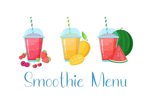 Vegeterian smoothie shake cocktail collectie Premium Vector
