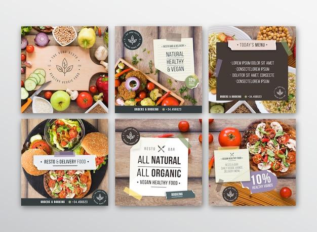 Veggie restaurant instagram-berichten Gratis Vector