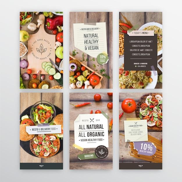 Veggie restaurant instagram-verhalen Gratis Vector