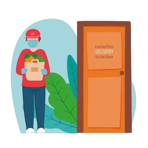 Veilig eten bezorgen jongen aan de deur Gratis Vector