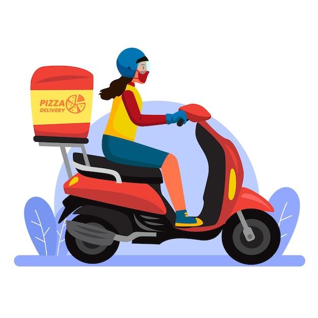 Veilig eten bezorgen met vrouw op scooter Gratis Vector