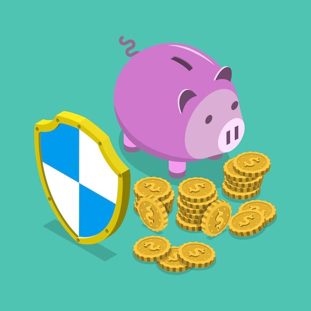 Veilig financieel besparingen isometrisch vectorconcept. Premium Vector