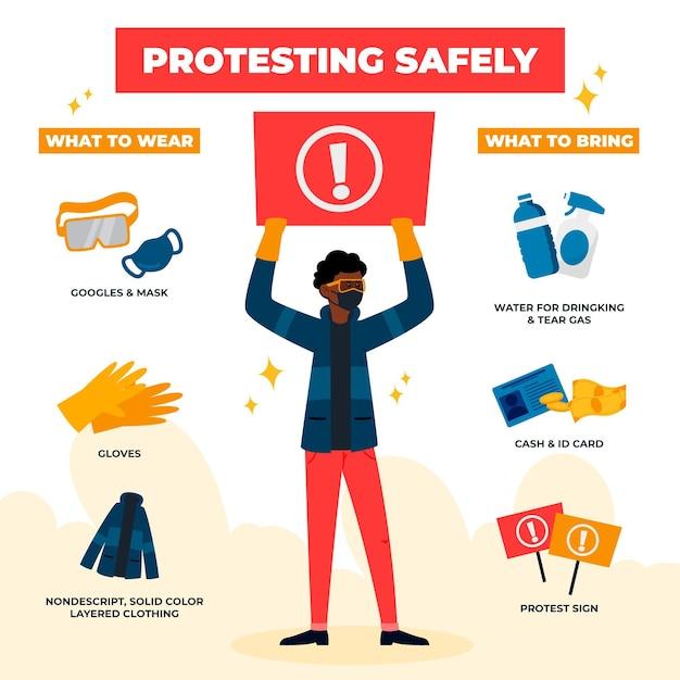 Veilig infographic protesteren Gratis Vector