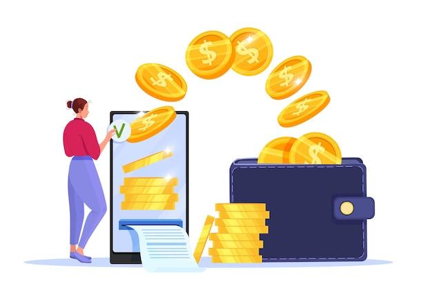 Veilig mobiel betalen, geld overmaken of online financieel concept met smartphone, vrouw, vliegende munten, portemonnee. Premium Vector