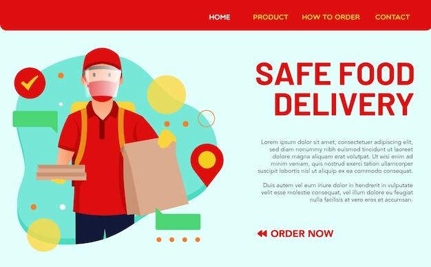 Veilig voedselleveringsconcept voor bestemmingspagina. een voedselleverancier gebruikt een gezichtsbescherming bij het uitvoeren van elke bezorgactiviteit Premium Vector