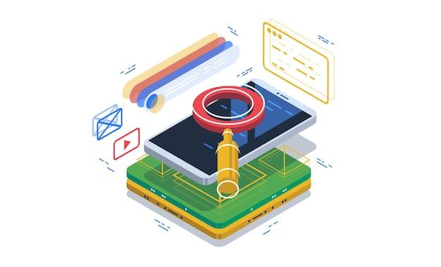 Veilig zoeken via een browser op een smartphone. zoeksysteem. Premium Vector