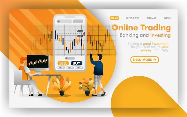 Veilige online handel, bankieren en beleggen Premium Vector