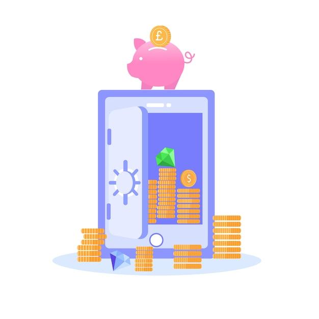 Veilige opslag van savings gold gems vector banner Premium Vector