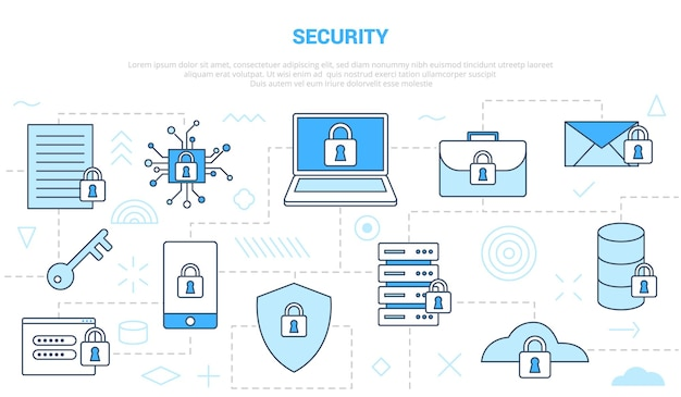 Veiligheidsconcept met pictogram lijnstijl ingesteld sjabloon met moderne blauwe kleur vectorillustratie Premium Vector