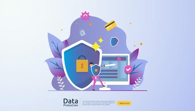 Veiligheidsnetwerkbeveiliging en vertrouwelijke gegevensbescherming met personagekarakter Premium Vector