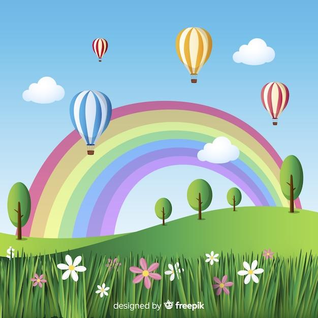 Veld met regenboog lente achtergrond Gratis Vector