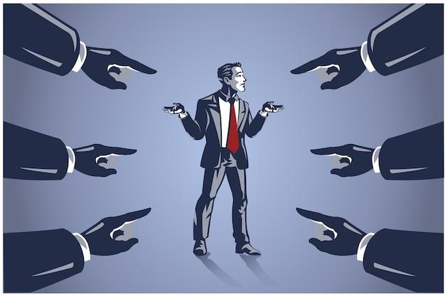 Vele handen gericht op zakenman, bedrijfsillustratieconcept om mensen de schuld te geven voor mislukking Premium Vector