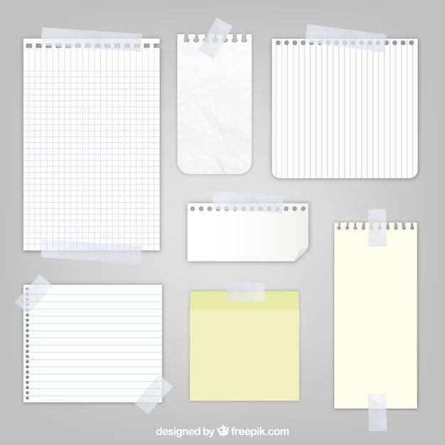 Vellen papier met plakband Gratis Vector