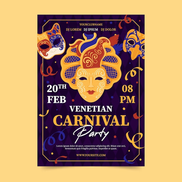 Venetiaans carnavalfeest met confetti poster sjabloon Gratis Vector