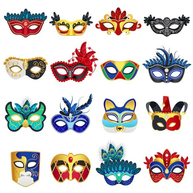 Venetiaanse carnaval maskers instellen Gratis Vector