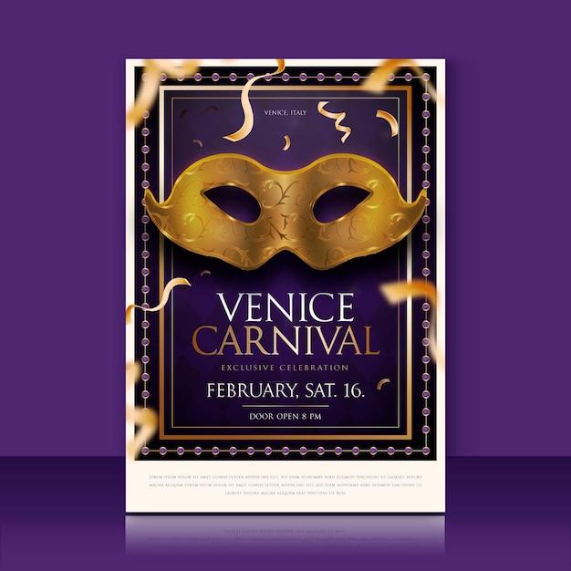 Venetiaanse carnaval maskers met gouden confetti poster sjabloon Gratis Vector