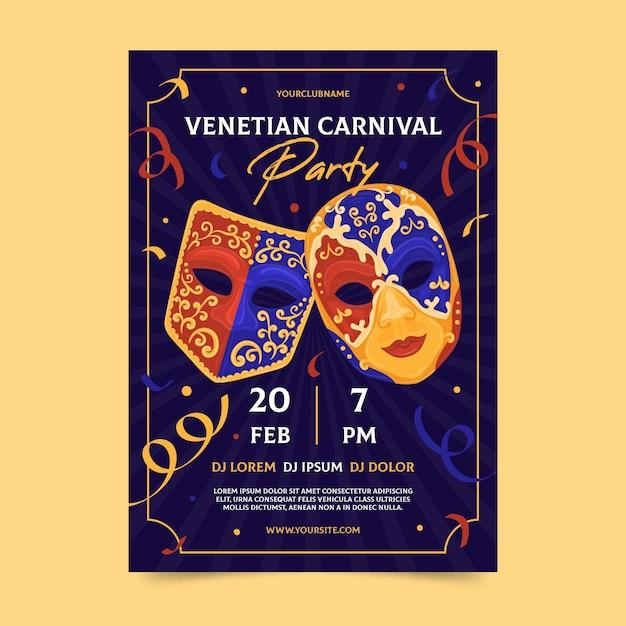 Venetiaanse carnaval partij poster sjabloon Gratis Vector
