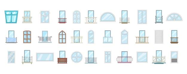Venster element ingesteld. cartoon set venster vectorelementen Premium Vector