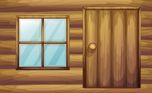 Venster en deur van een houten kamer Gratis Vector