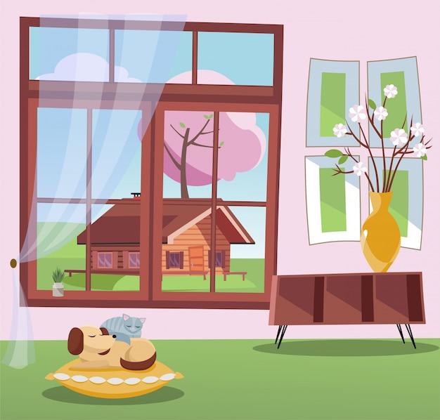 Venster met uitzicht op bloesem bomen en land houten huis. lente interieur met slapende kat en hond op kussen. zonnig weer buiten. Premium Vector