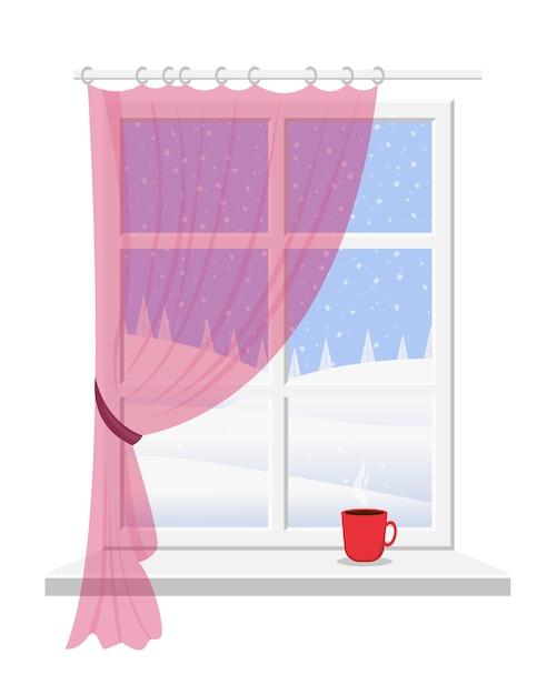 Venster met vensterbank, wit frame en roze gordijn met uitzicht op het prachtige winterlandschap. Premium Vector