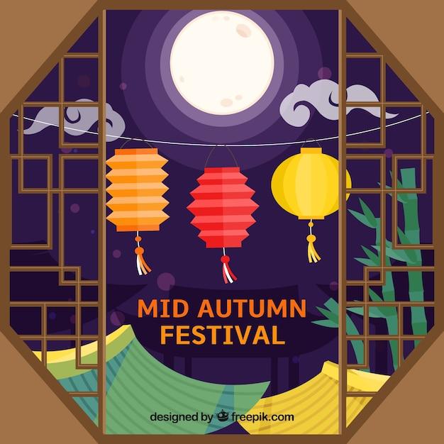 Venster, midden herfst festival Gratis Vector
