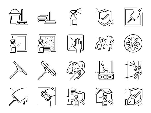 Venster reinigingslijn pictogramserie. Premium Vector