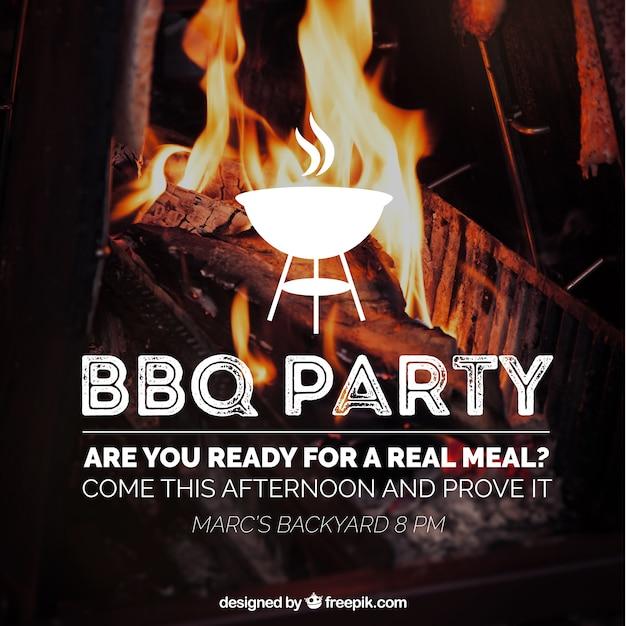 Verbazende barbecue uitnodiging Gratis Vector