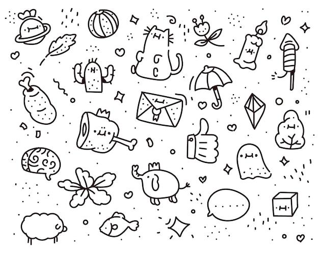 Verbeelding doodle stijl. verbeelding tekenstijl Premium Vector