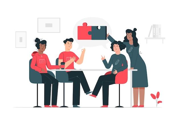 Verbindende teams concept illustratie Gratis Vector