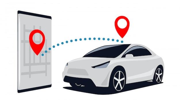 Verbinding auto en smartphone. zoek naar suv op de parkeerplaats via de mobiele applicatie in de telefoon. illustratie. Premium Vector