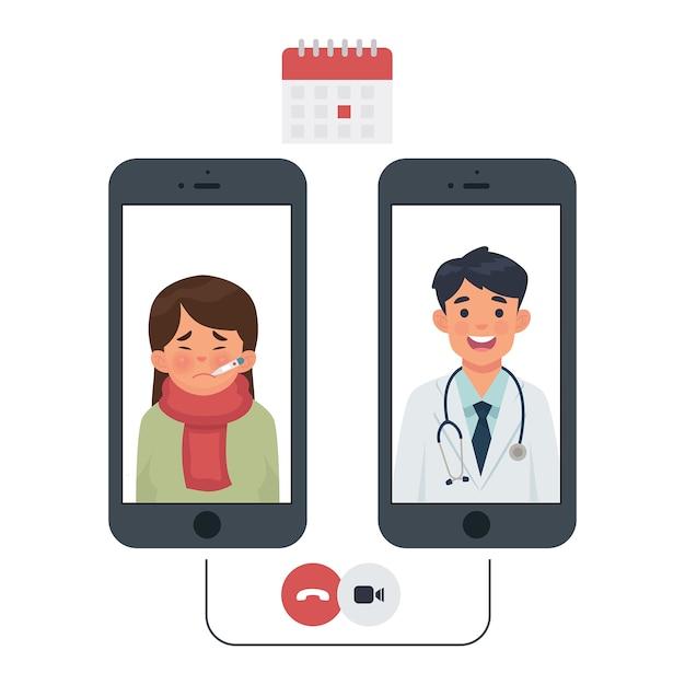Verbinding tussen patiënt en arts via de telefoon Premium Vector