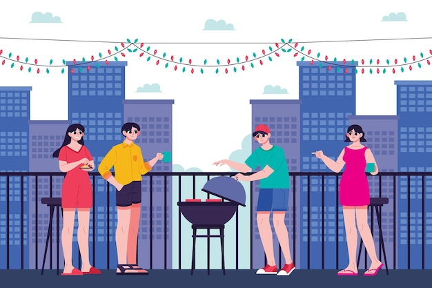 Verblijf op een dakterras met barbecue Gratis Vector