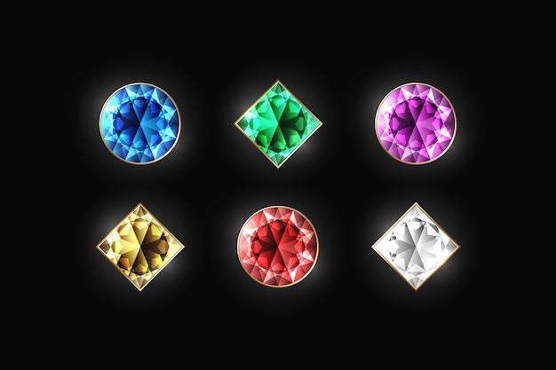 Verblindende diamant verschillende kleur en vorm Premium Vector