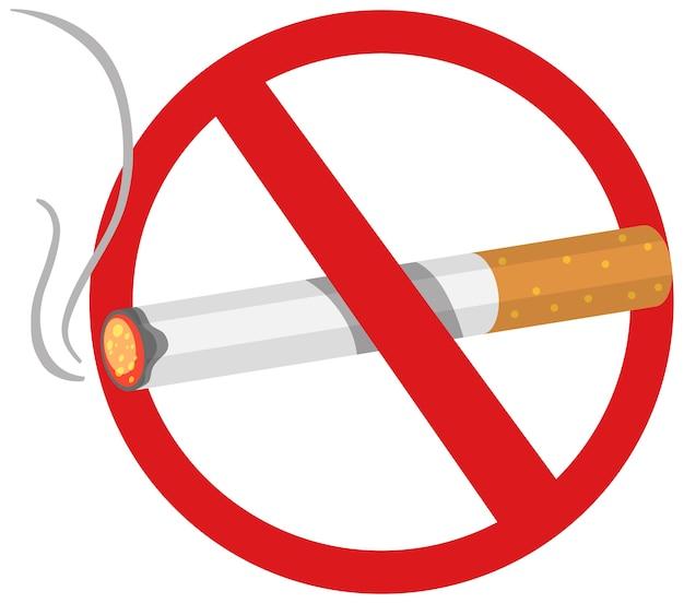 Verboden geen brandwonden van tabak of sigaretten geïsoleerd op een witte achtergrond Premium Vector