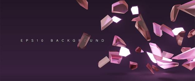 Verbrijzelde kristalglas explosieachtergrond Premium Vector