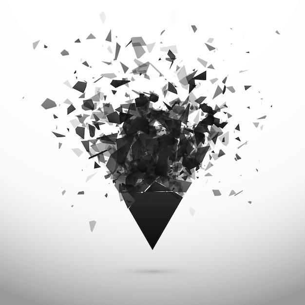 Verbrijzelen en vernietigen donkere driehoek. explosie-effect. abstracte wolk van stukjes en fragmenten na explosie Premium Vector