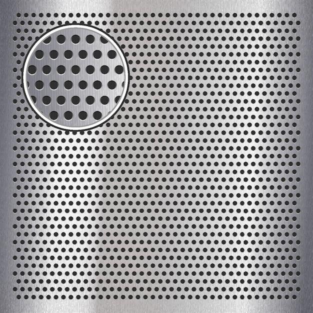 Verchroomd metalen plaatoppervlak met gaten Premium Vector