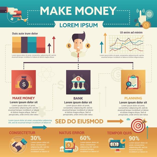 Verdien geld - info poster, brochure omslagsjabloon lay-out met pictogrammen, andere infographic elementen en opvultekst Premium Vector