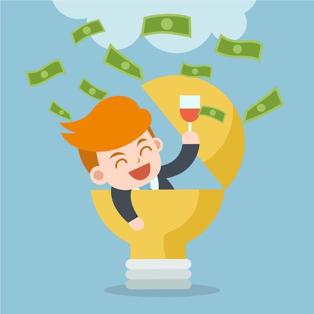 Verdien geld met idee. de gelukkige zakenman viert succes. Premium Vector
