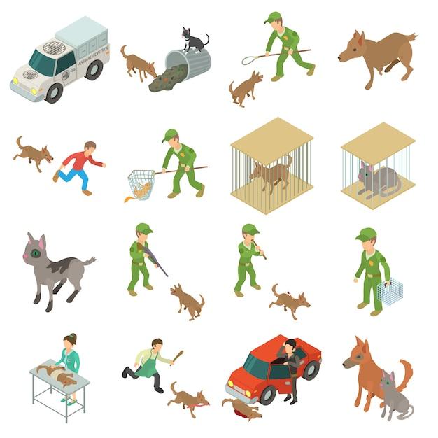 Verdwaalde dieren pictogrammen instellen. isometrische illustratie van 16 verdwaalde dieren vector iconen voor web Premium Vector
