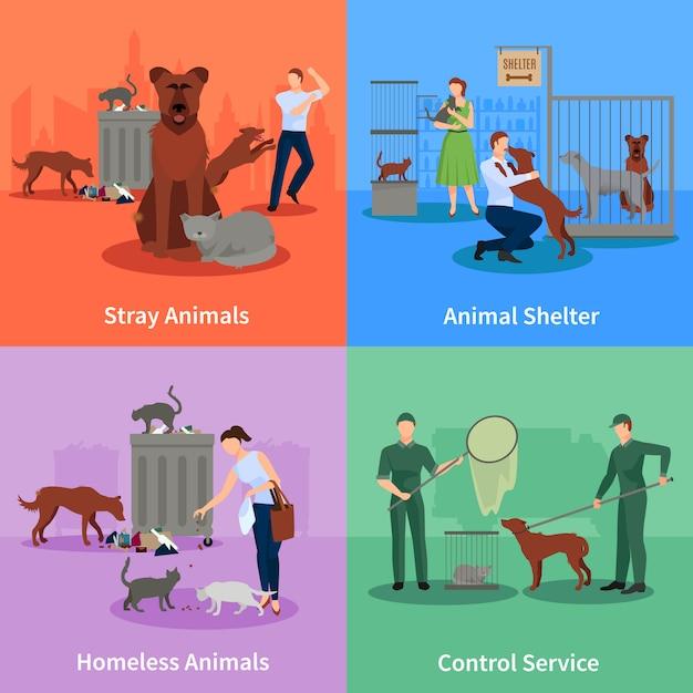 Verdwaalde honden en chats karakter ingesteld gedrag buiten hun gewoonten onderdak en controle dienst vectorillustratie Premium Vector