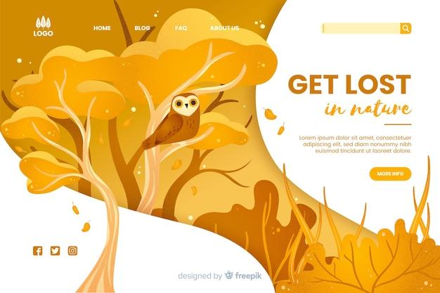 Verdwalen in de natuur websjabloon Gratis Vector
