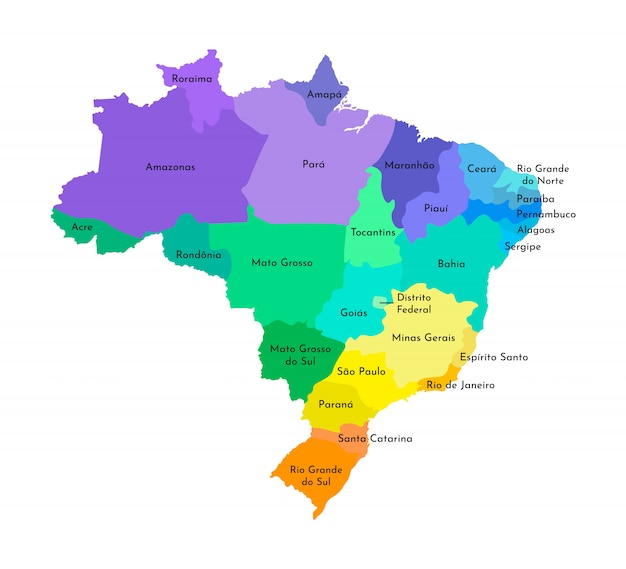 Vereenvoudigde administratieve kaart van brazilië Premium Vector