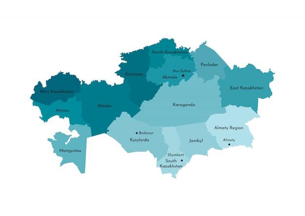 Vereenvoudigde administratieve kaart van kazachstan Premium Vector